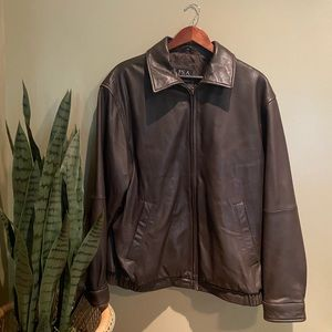 JOSEPH A BANK BROWN LEATHER JACKET